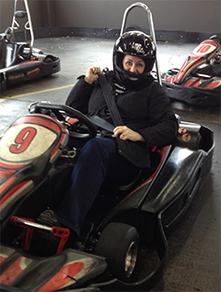 Tara Reed in a go kart